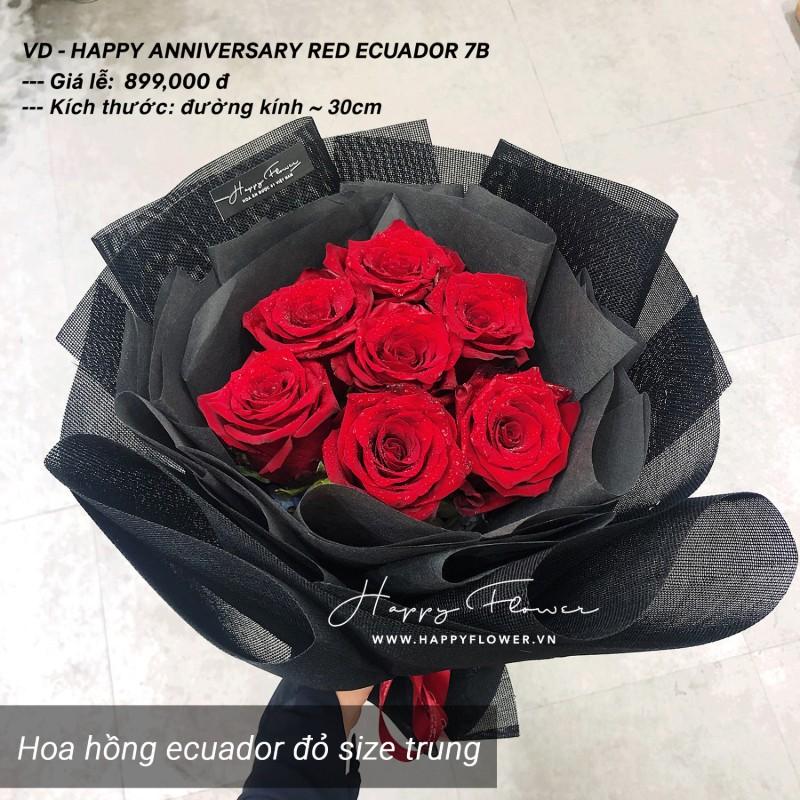 bó hoa 7 cánh hoa hồng đỏ Ecuador rực rỡ
