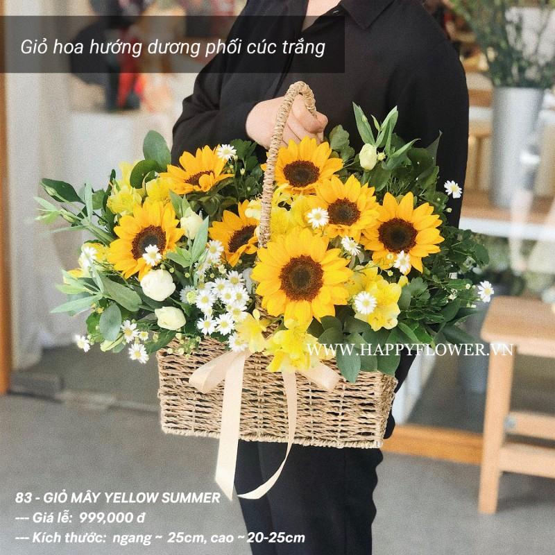 giỏ hoa hướng dương mix hoa cúc trắng