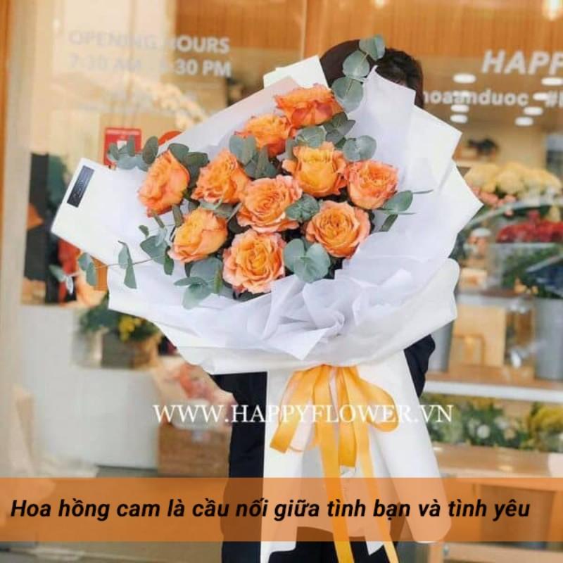 bó hoa hồng cam ecuador