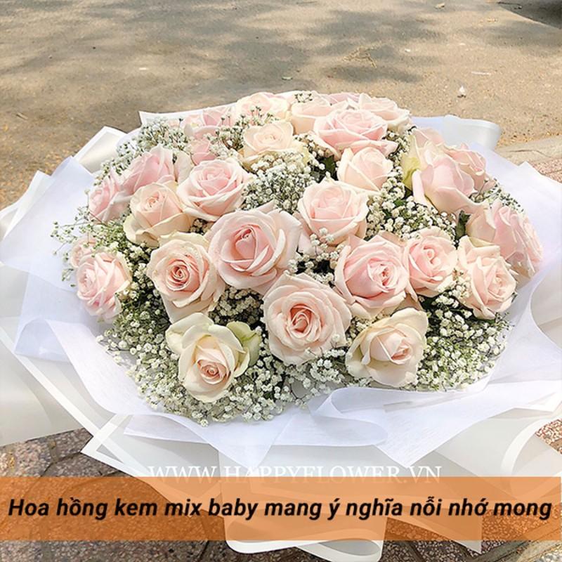 bó hoa hồng pastel mix hoa baby