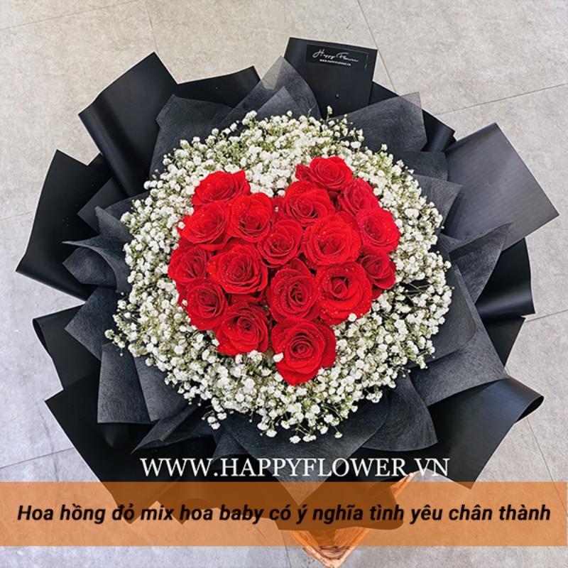 bó hoa hồng đỏ hình trái tim
