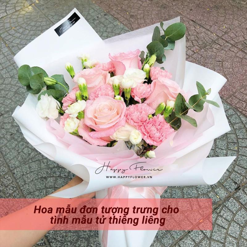 bó hoa mẫu đơn hồng mix hoa hồng