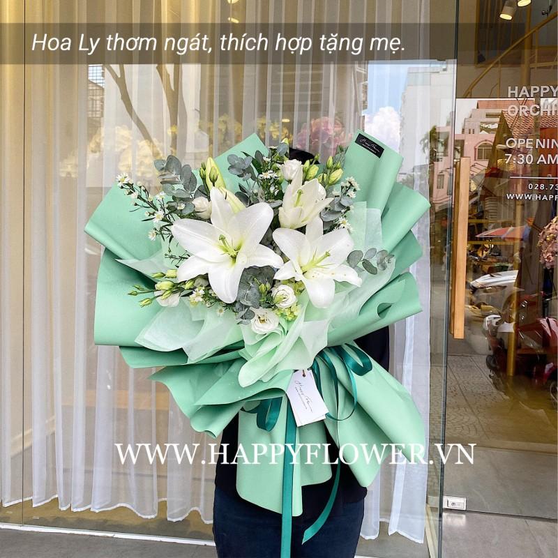 bó hoa ly trắng đẹp tinh tế