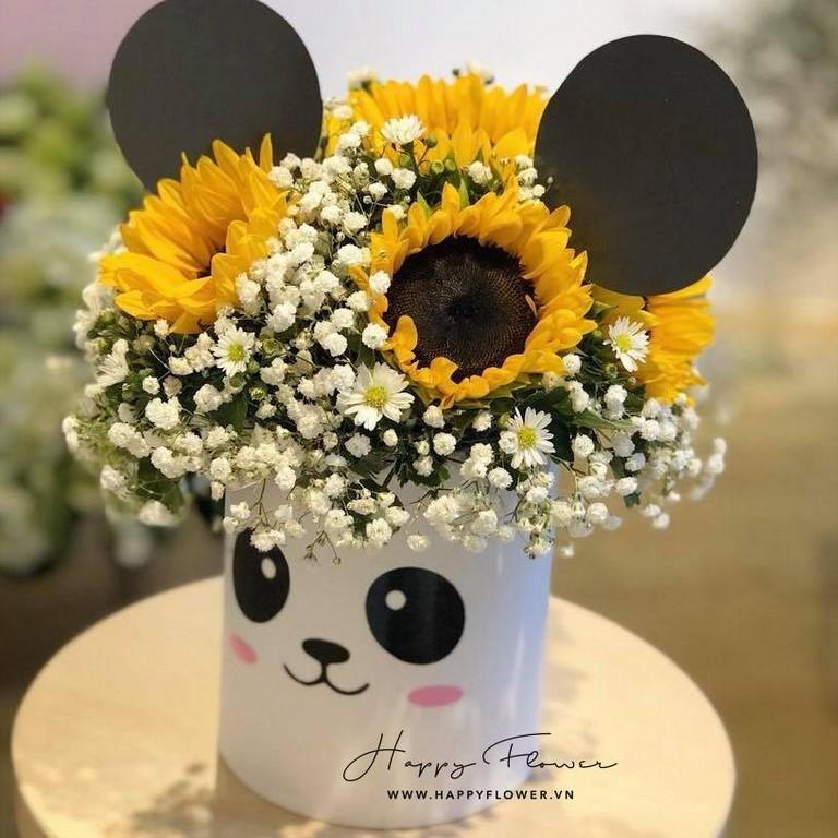 Hộp hoa hướng dương cực dễ thương