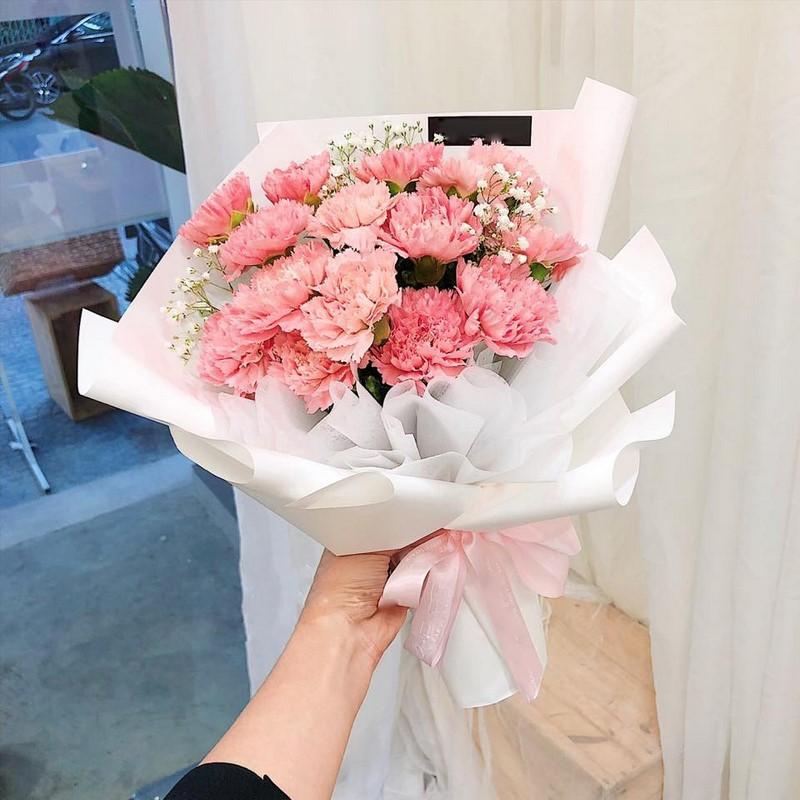 bó hoa cẩm chướng hồng phớt chúc mừng sinh nhật