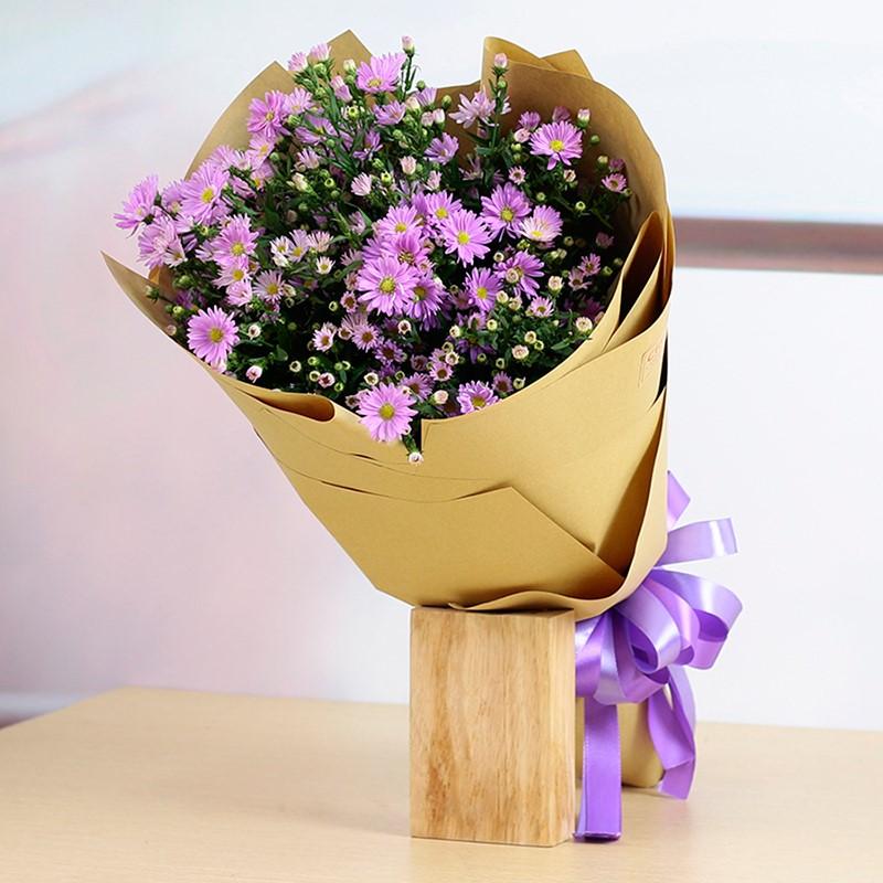 bó hoa thạch thảo màu tím chúc mừng sinh nhật