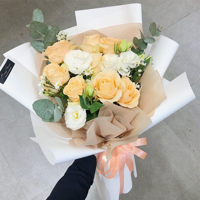 bó hoa hồng màu cam vàng chúc mừng sinh nhật