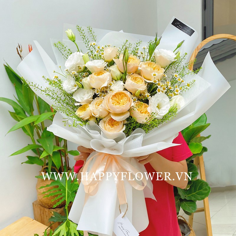 hoa cát tường và hoa hồng vàng
