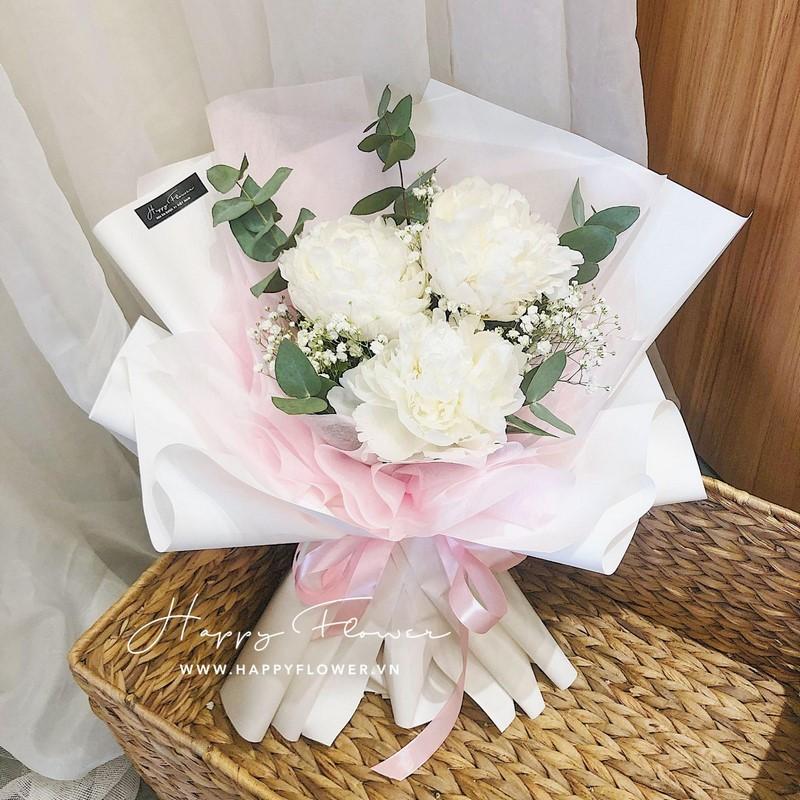 bó hoa mẫu đơn trắng tặng bố
