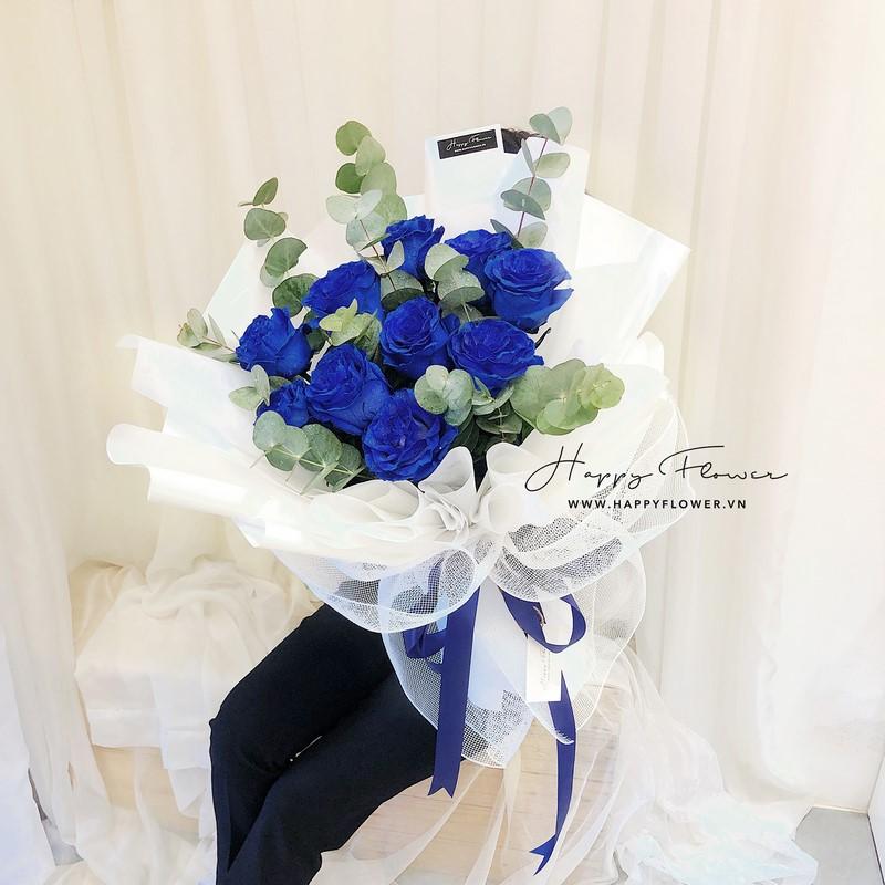 bó hoa hồng màu xanh tặng bố