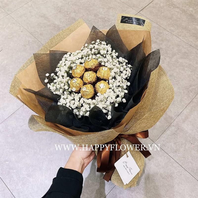 Hoa kẹo Ferrero Rocher mix cùng hoa baby nhập khẩu.