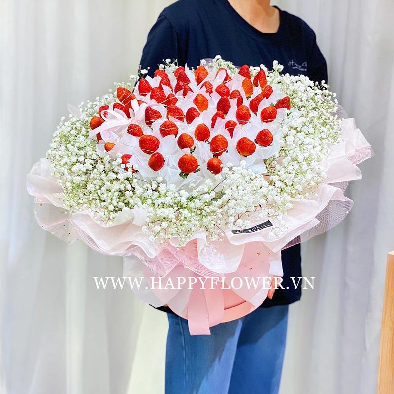 Hoa ăn được dâu tây mix hoa baby tặng sinh nhật con gái