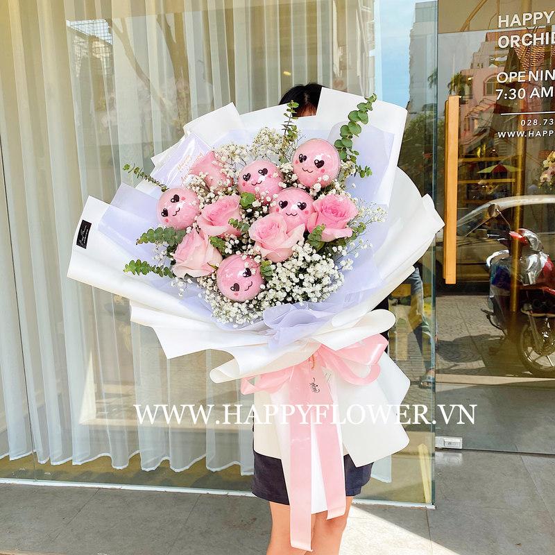 bó hoa kẹo bông gòn chúc mừng sinh nhật con gái