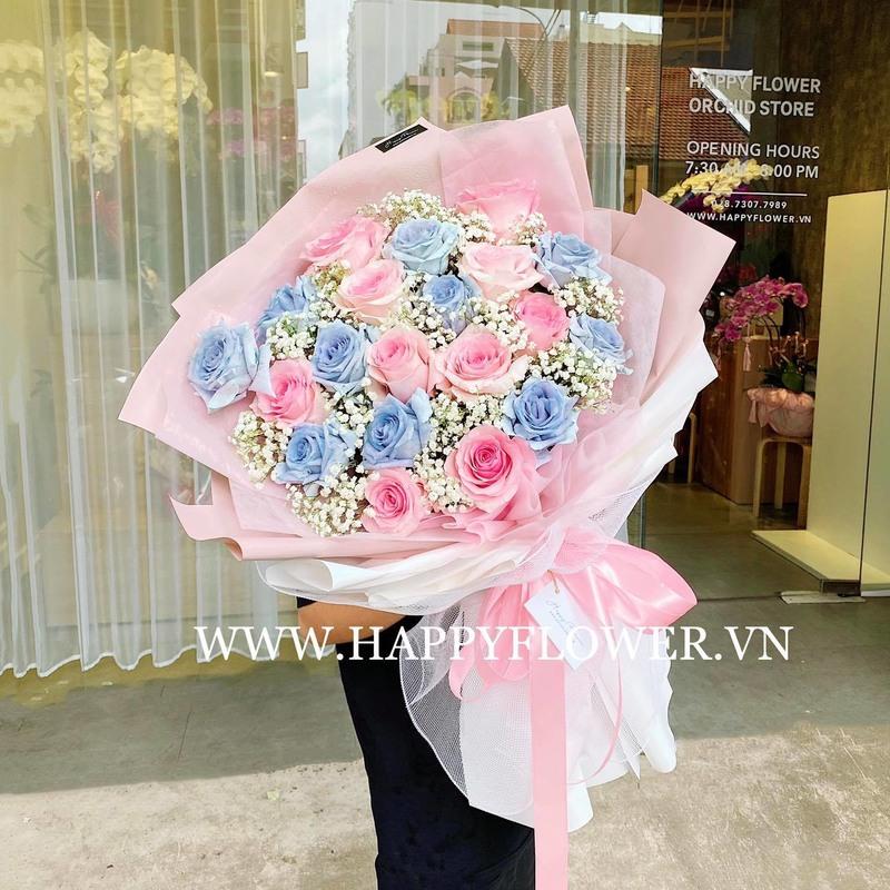 bó hoa hồng xanh mix hồng và hoa baby chúc mừng sinh nhật con gái