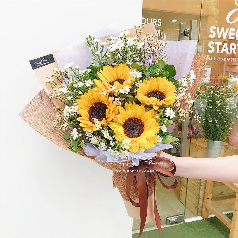 bó hoa hướng dương vàng mix hoa cúc họa mi trắng