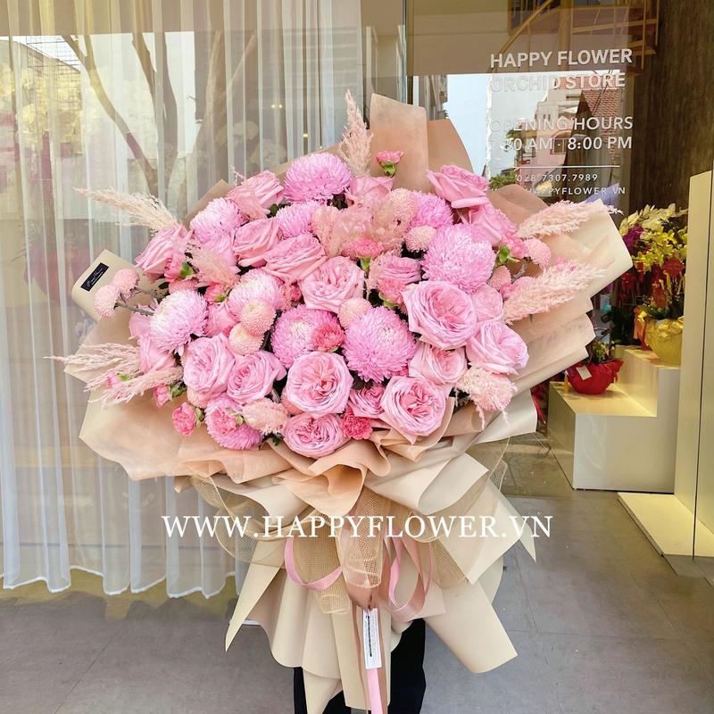 bó hoa mẫu đơn hồng chúc mừng sinh nhật mẹ