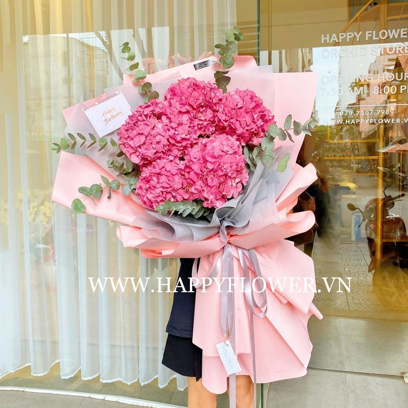 bó hoa 5 cành cẩm tú cầu hồng chúc mừng sinh nhật mẹ