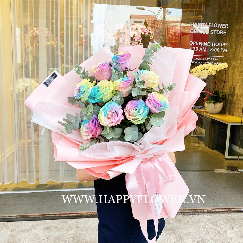 bó hoa hồng đa dạng màu pastel chúc mừng sinh nhật mẹ
