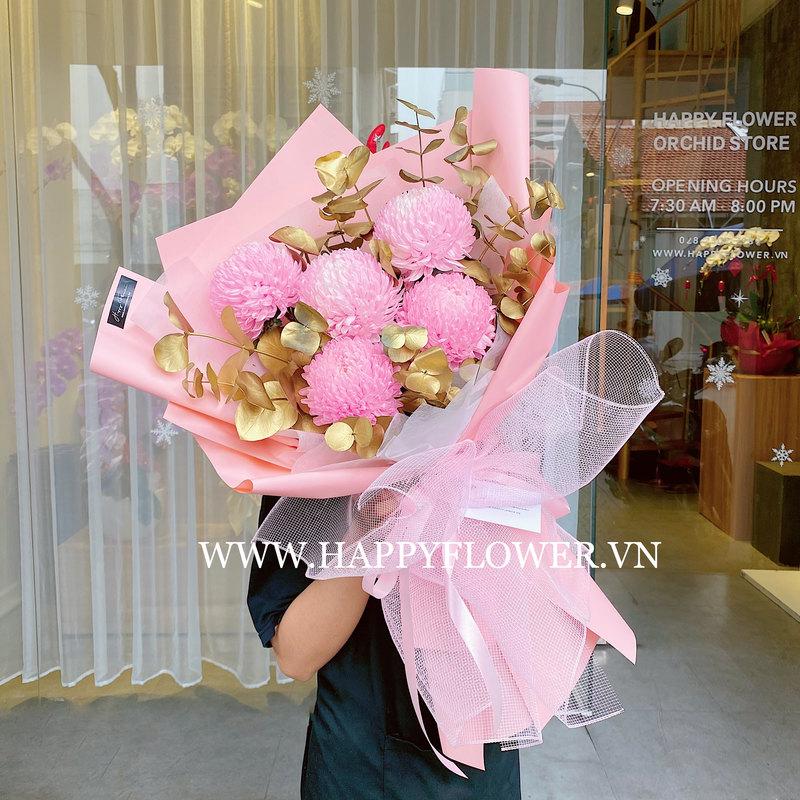 bó hoa cúc mẫu đơn hồng tím chúc mừng sinh nhật mẹ
