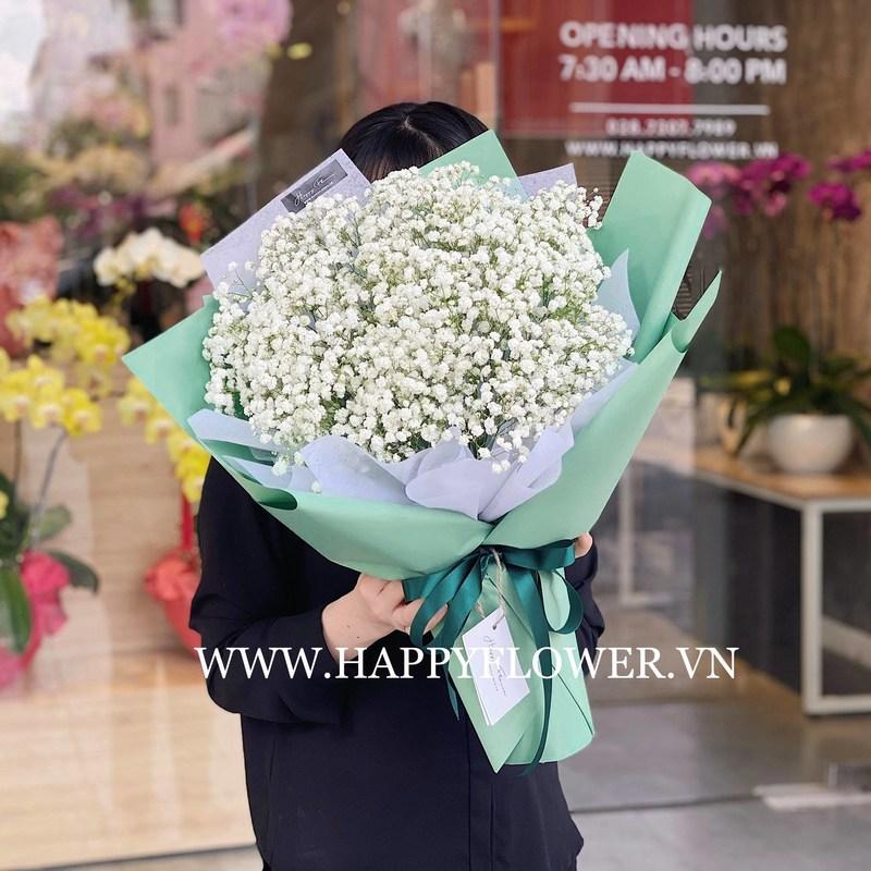 bó hoa baby trắng chúc mừng sinh nhật người yêu