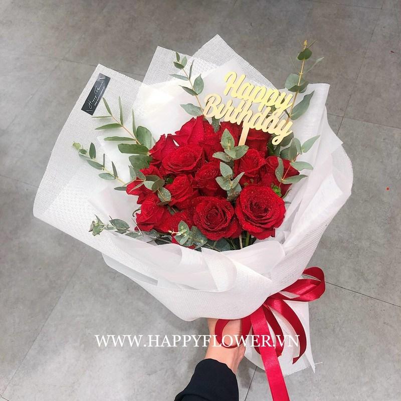 bó hoa hồng đỏ chúc mừng sinh nhật người yêu