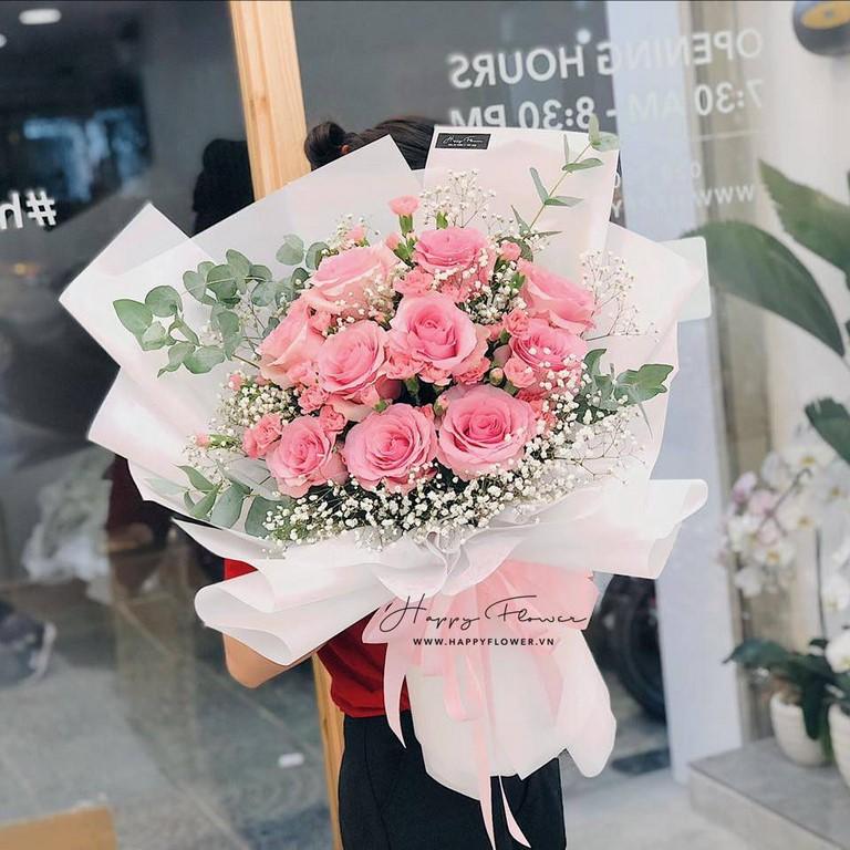 Bó hoa hồng hồng mix hoa hồng màu hồng