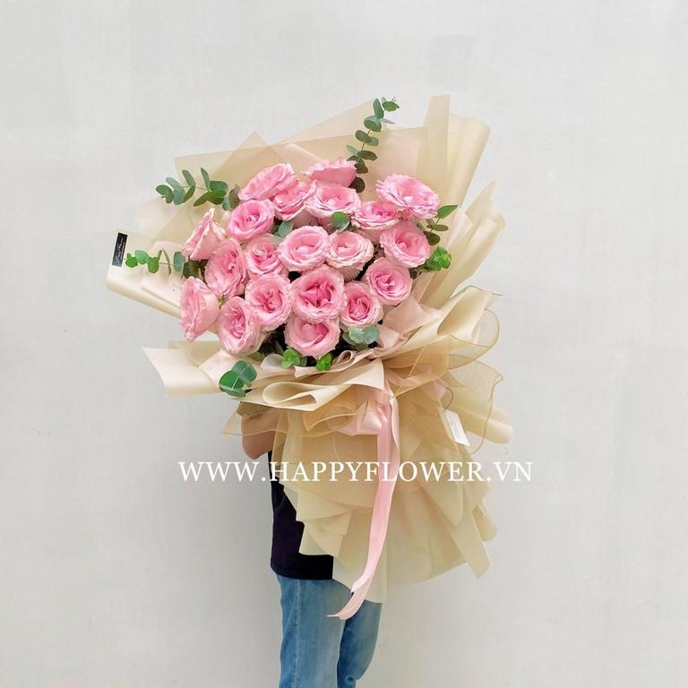Bó hoa hồng màu hồng nhạt tặng vợ cực đẹp