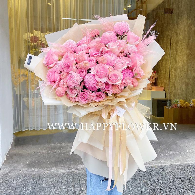 Bó hoa cúc mẫu đơn hồng mix hoa hồng chúc mừng thành lập công ty