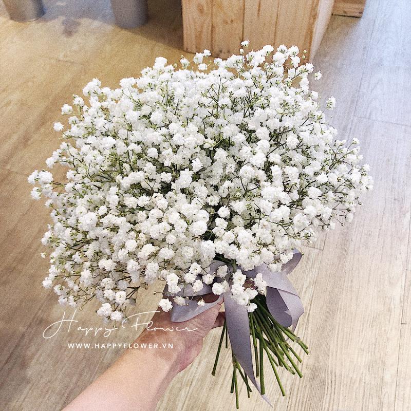 hoa cưới cầm tay hoa baby trắng đơn giản