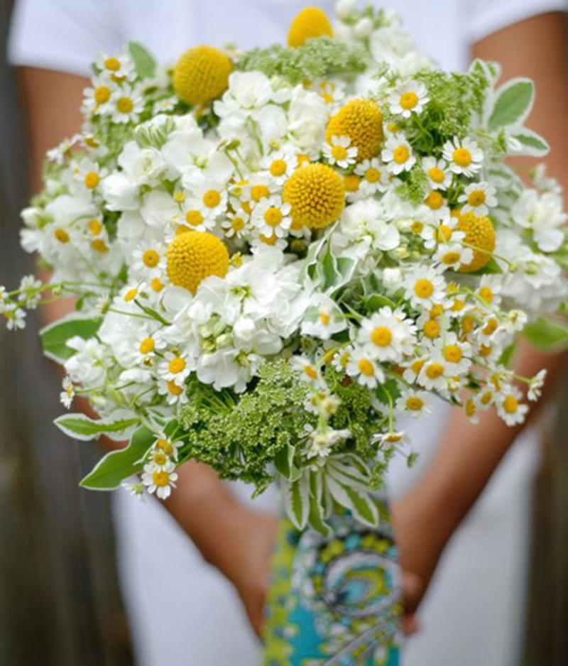 hoa cúc hoa mi mix hoa baby và hoa trắng