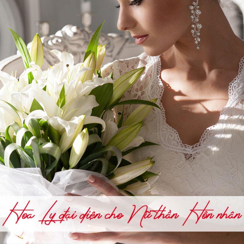 bó hoa ly cưới màu trắng