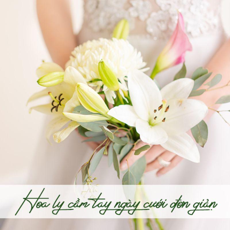 bó hoa ly cầm tay ngày cưới đơn giản