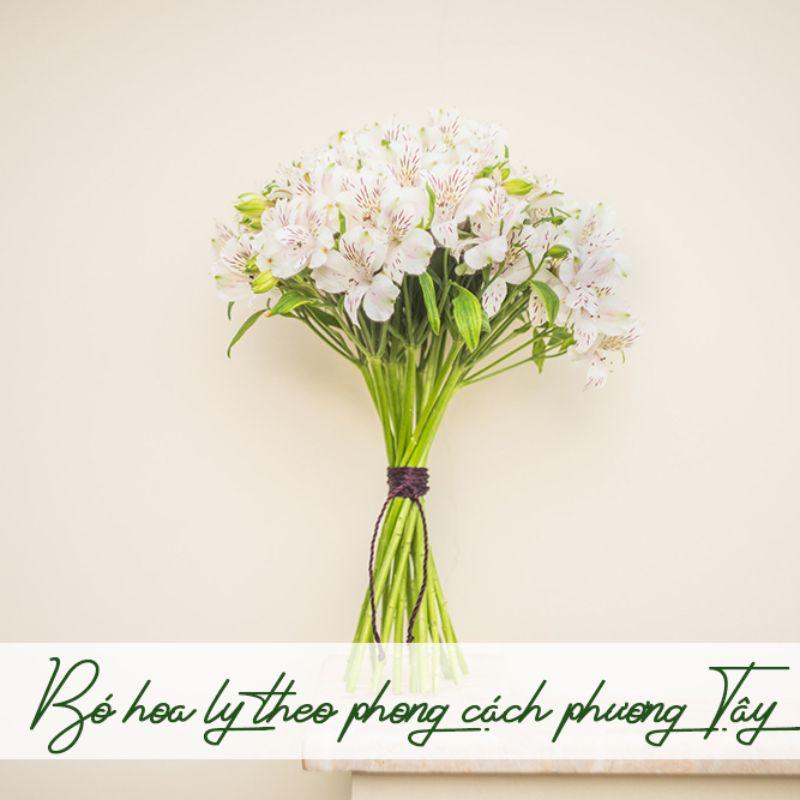 bó hoa ly trắng phong cách phương tây