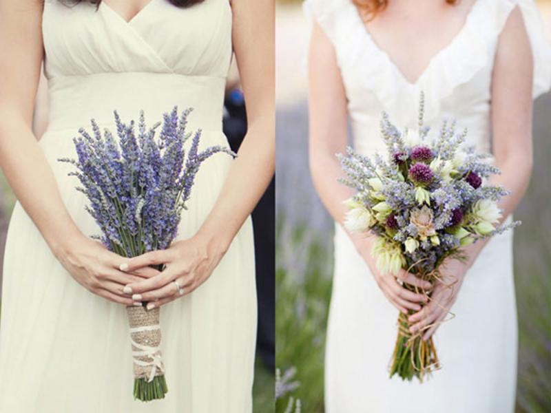 bó hoa cưới từ hoa lavender