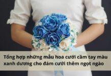 hoa cưới cầm tay màu xanh dương