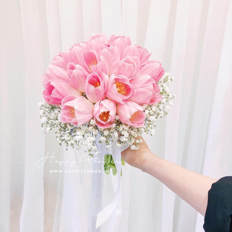 bó hoa cưới cầm tay hoa hồng mix hoa baby trắng