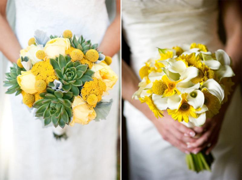 bó hoa cưới cầm tay gam màu vàng ấm áp