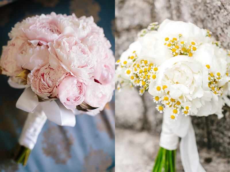 bó hoa cưới từ hoa mẫu đơn
