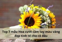 hoa cưới cầm tay màu vàng