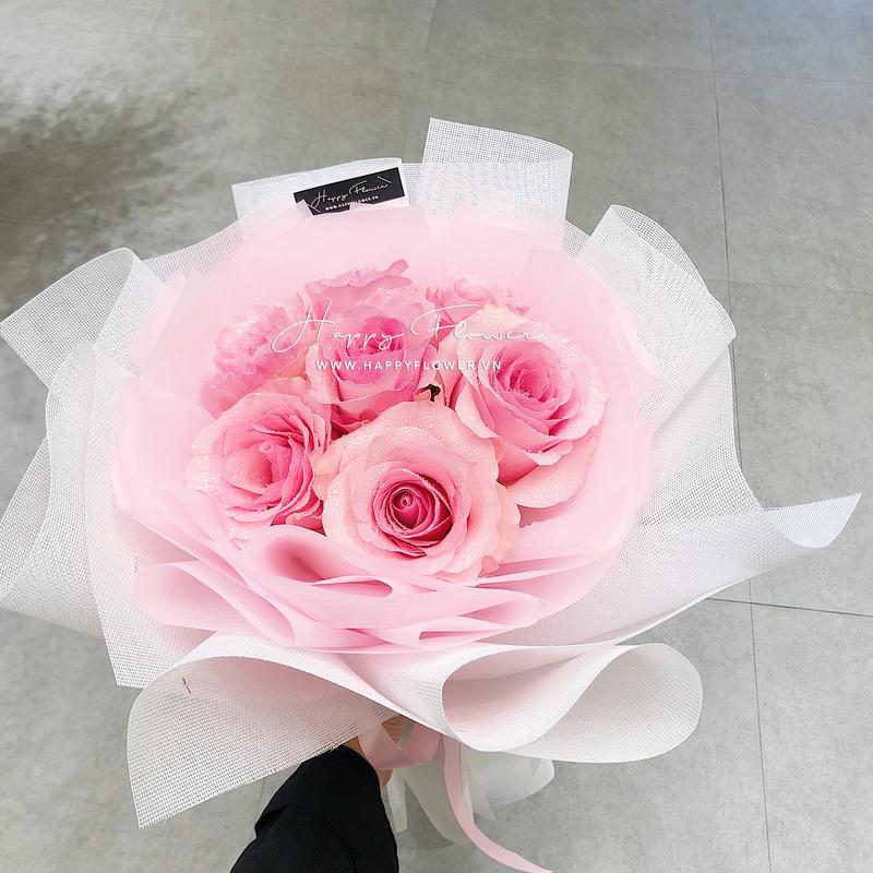 Bó hoa hồng hồng phấn nhập khẩu quyến rũ