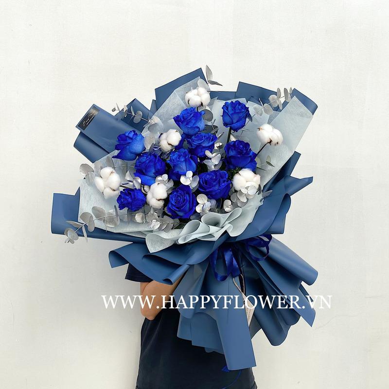 Bó hoa hồng xanh Ecuador mix hoa bông gòn trắng sang trọng