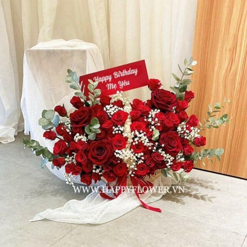 kệ hoa hồng đỏ tặng mẹ yêu