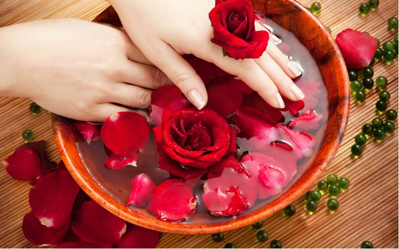 chậu nước chứa hoa hồng đỏ bên trong
