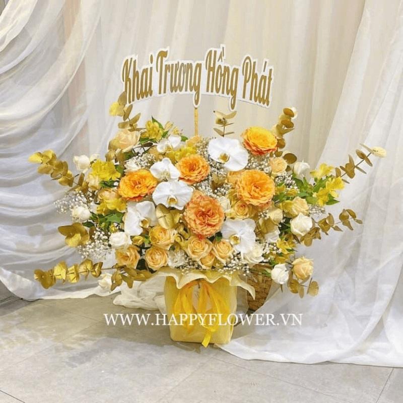 Bó hoa hồng Ecuador màu vàng tặng khai trương