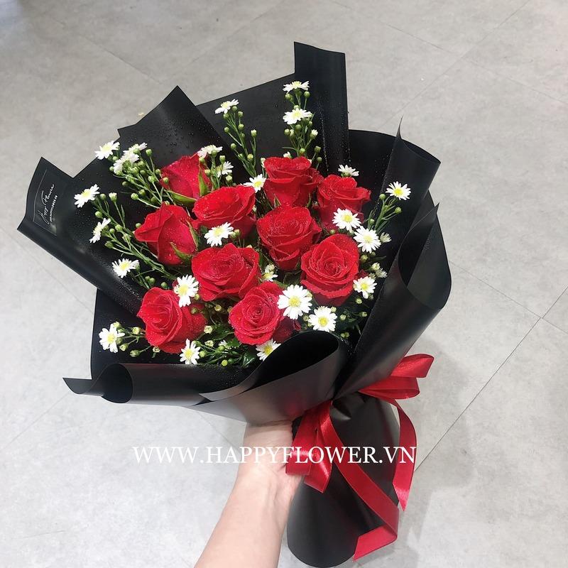 Hoa hồng đỏ mix hoa cúc trắng giá bao nhiêu