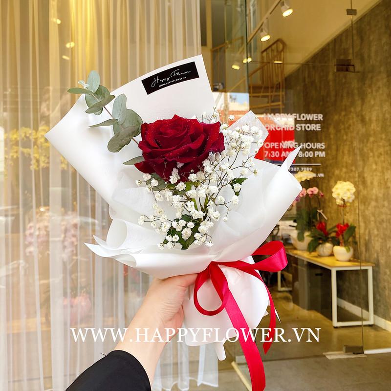 Hoa hồng đỏ mix hoa baby trắng giá bao nhiêu