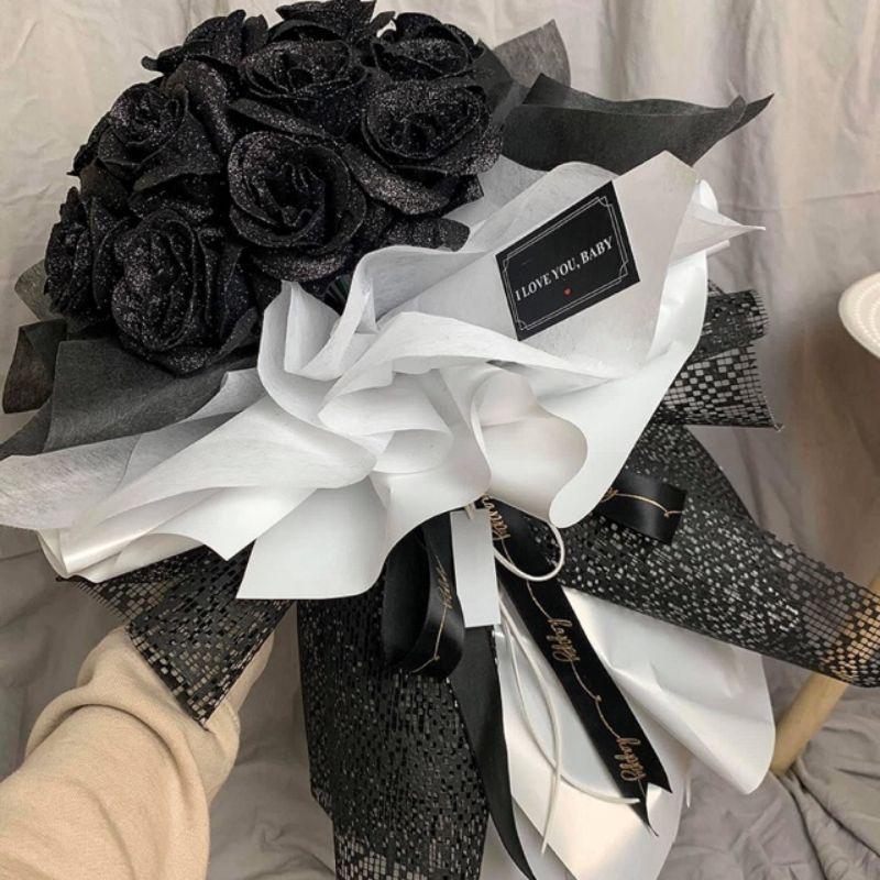 bó hoa hồng nhuộm đen