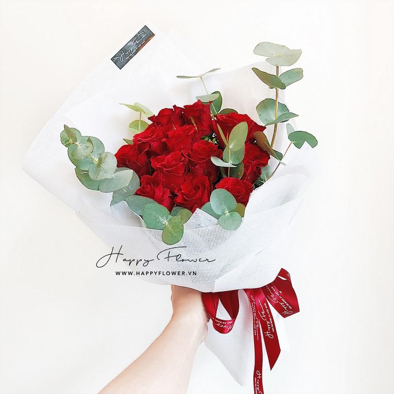 bó hoa hồng đỏ tươi thắm tặng mẹ