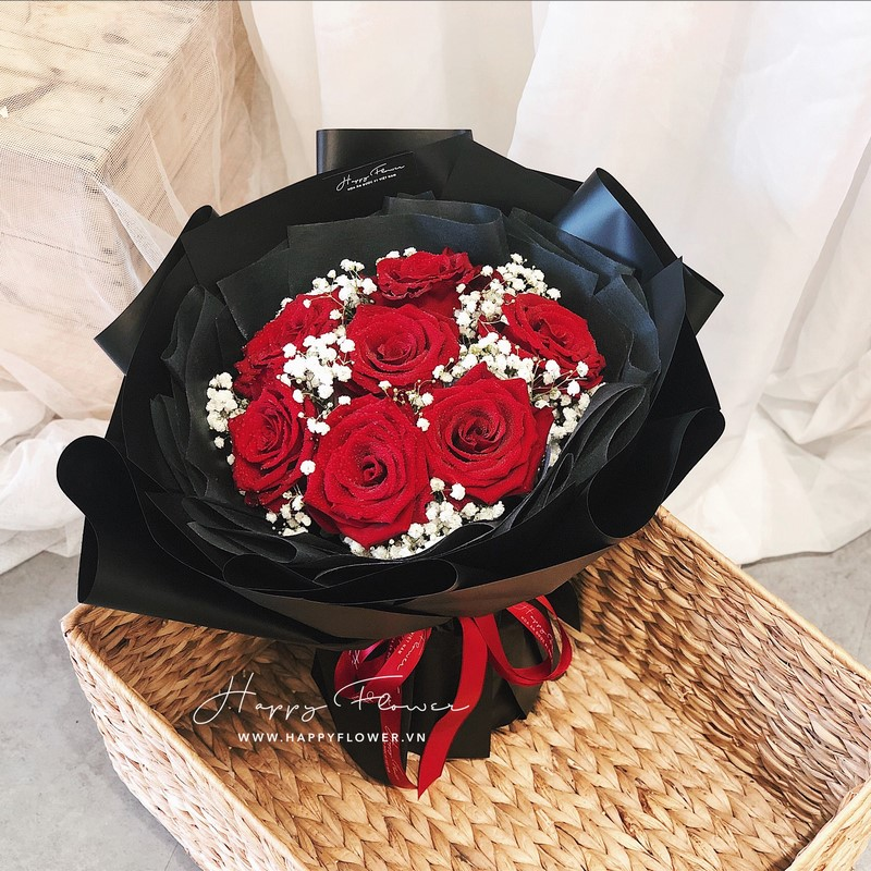 bó hoa hồng Ecuador đỏ rực rỡ đẹp