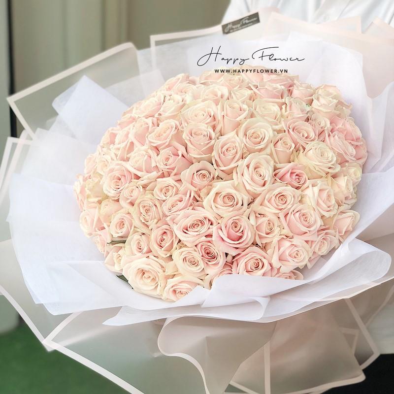 bó hoa hồng màu phấn đẹp tặng mẹ